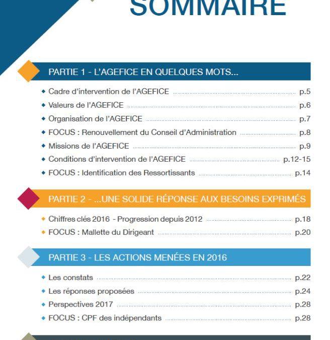 L'AGEFICE publie son rapport d'activité 2016